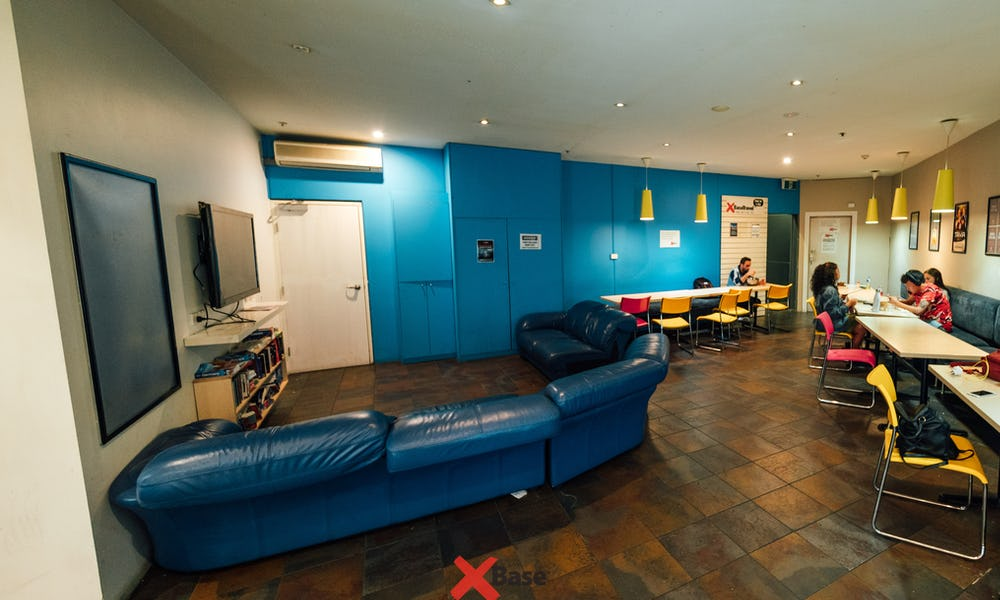tv lounge at base hostel st kilda