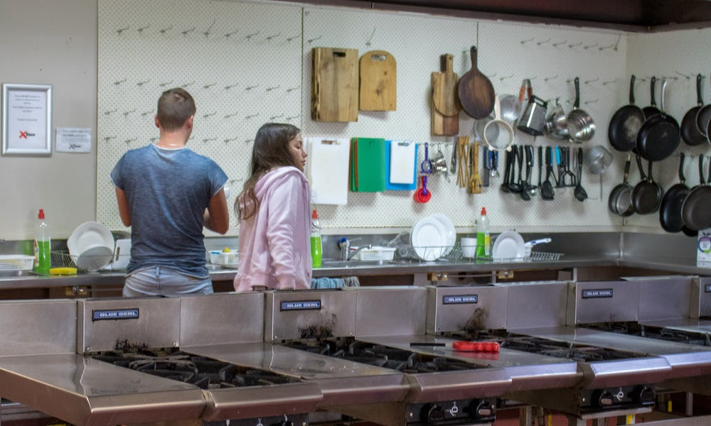 communal kitchen at base hostel auckland