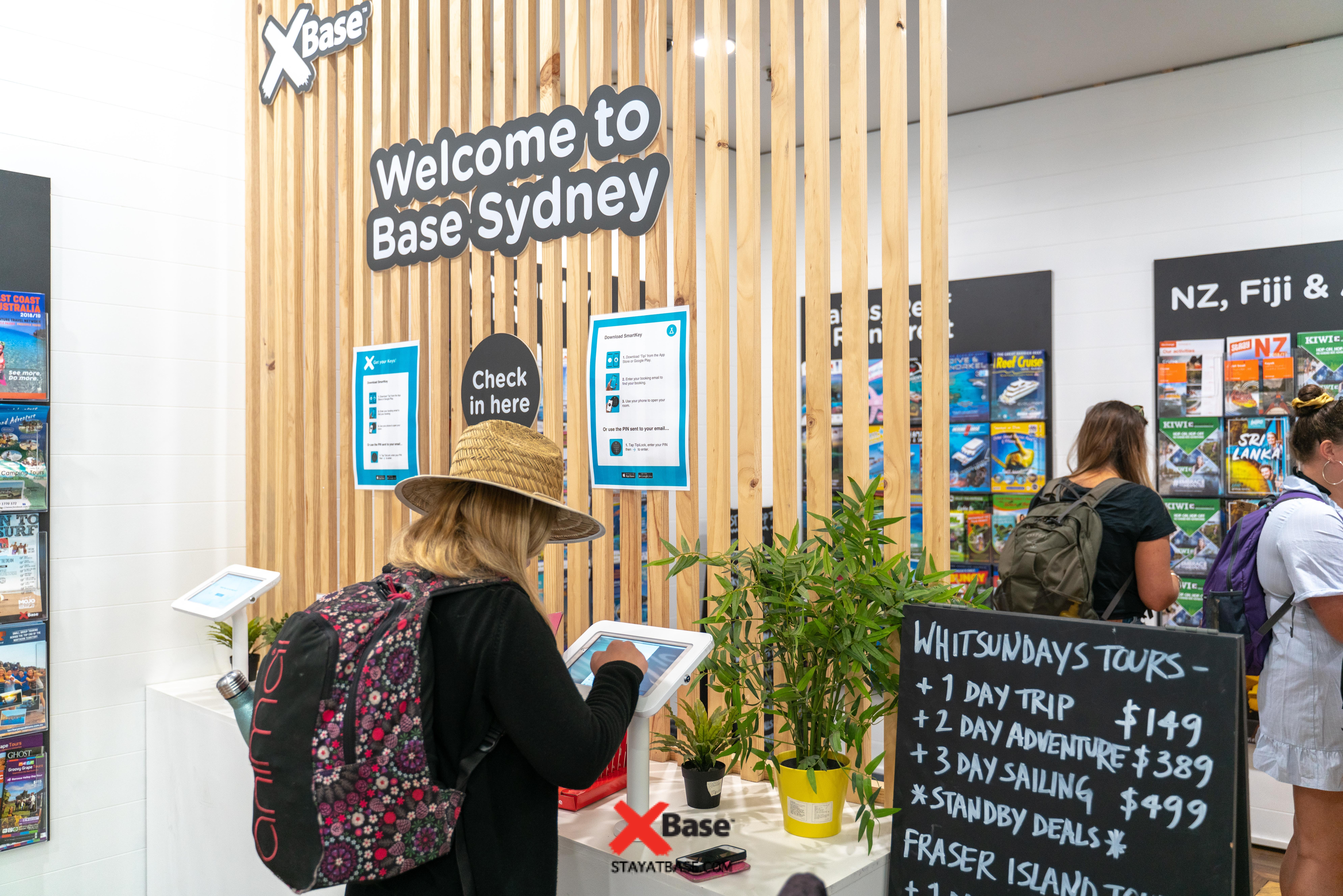 self check in at base backpackers sydney