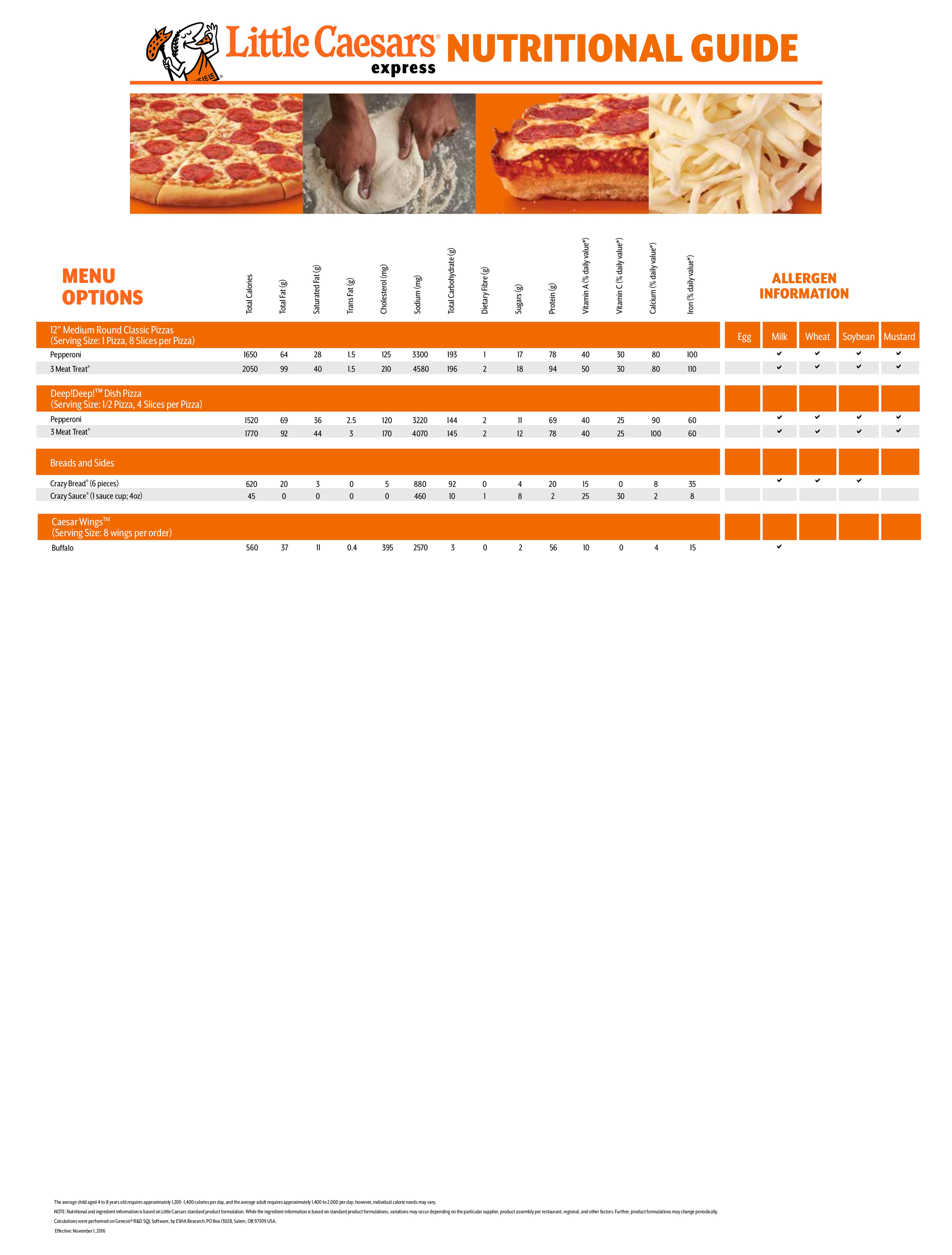 Little Caesars Nutrition Guide Page 2
