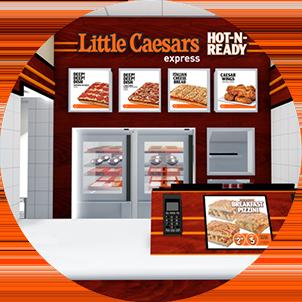 Croquis d'artiste d'un comptoir Little Caesars