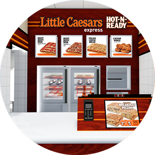 Artist rendering of a Little Caesars front counter