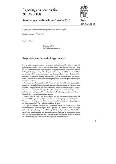 Sweden's implementation of Agenda 2030