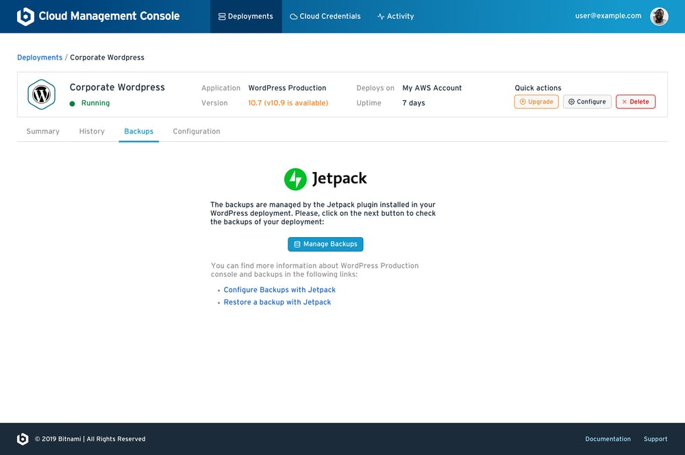 Manage your deployment backups from the Jetpack plugin