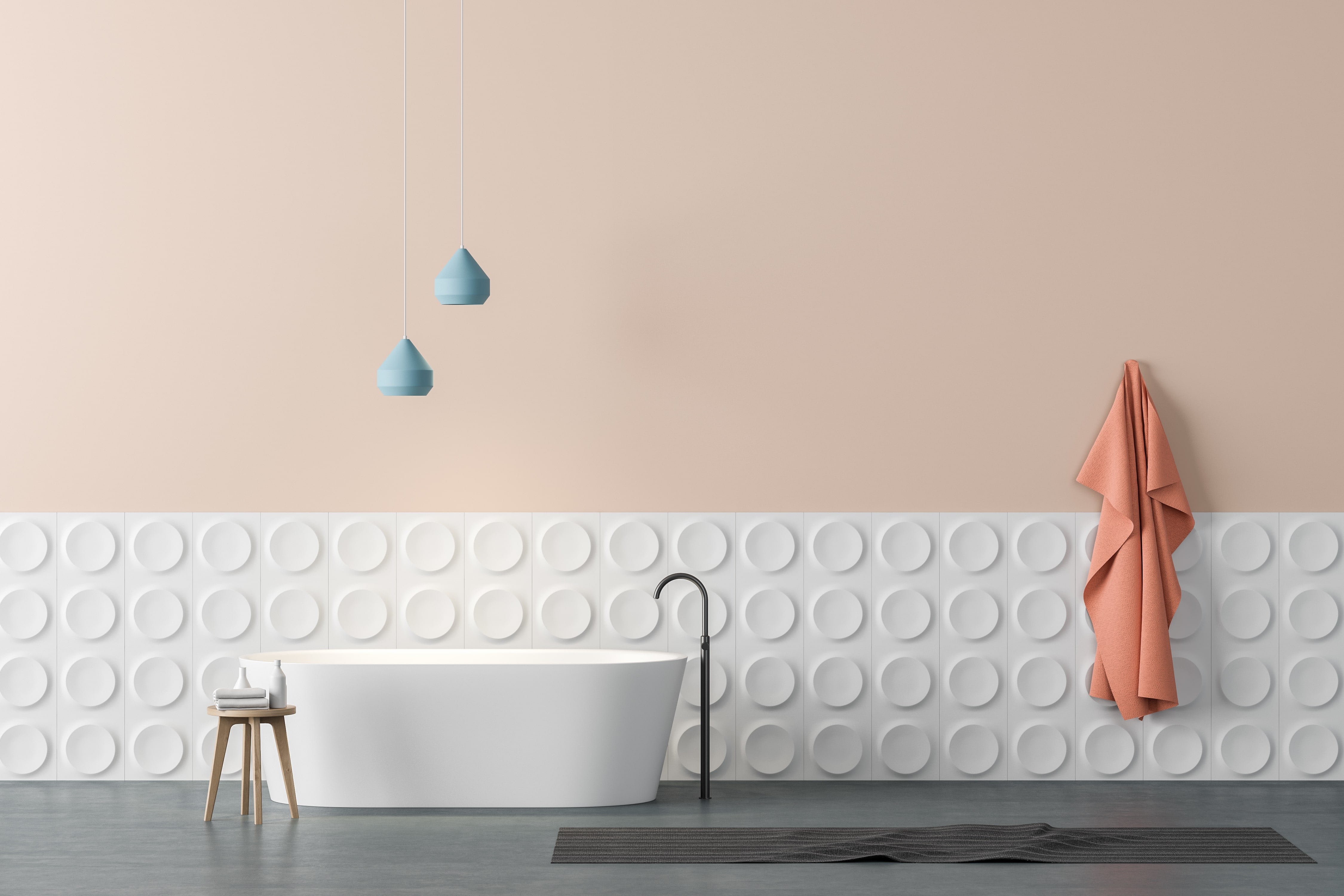 salle de bain et baignoire mur rose