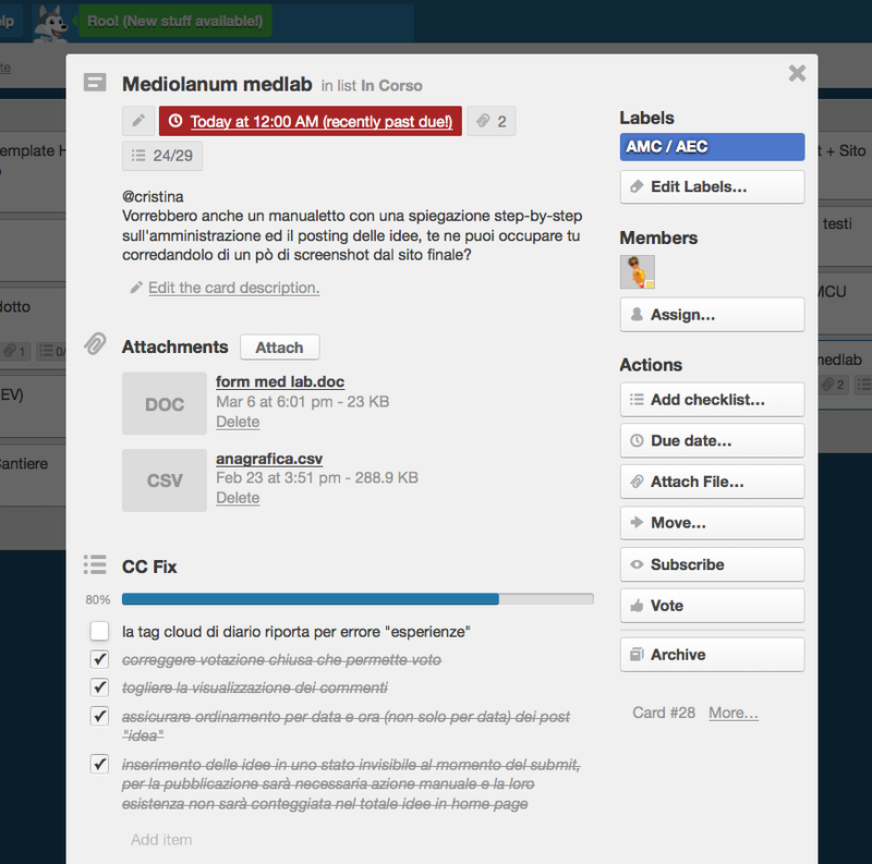elementi base di una card Trello