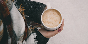 A hot cup of cocoa keeping winter chills at bay