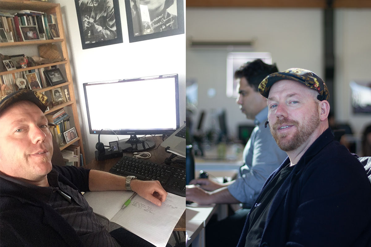 Chris Burman working from his home and in the office
