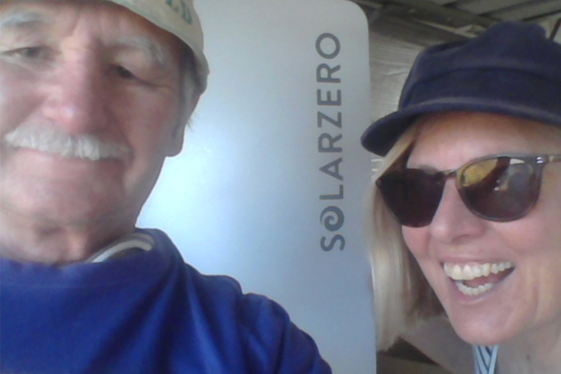 Kevin and Jane Fourie proudly show off their solarZero smart battery