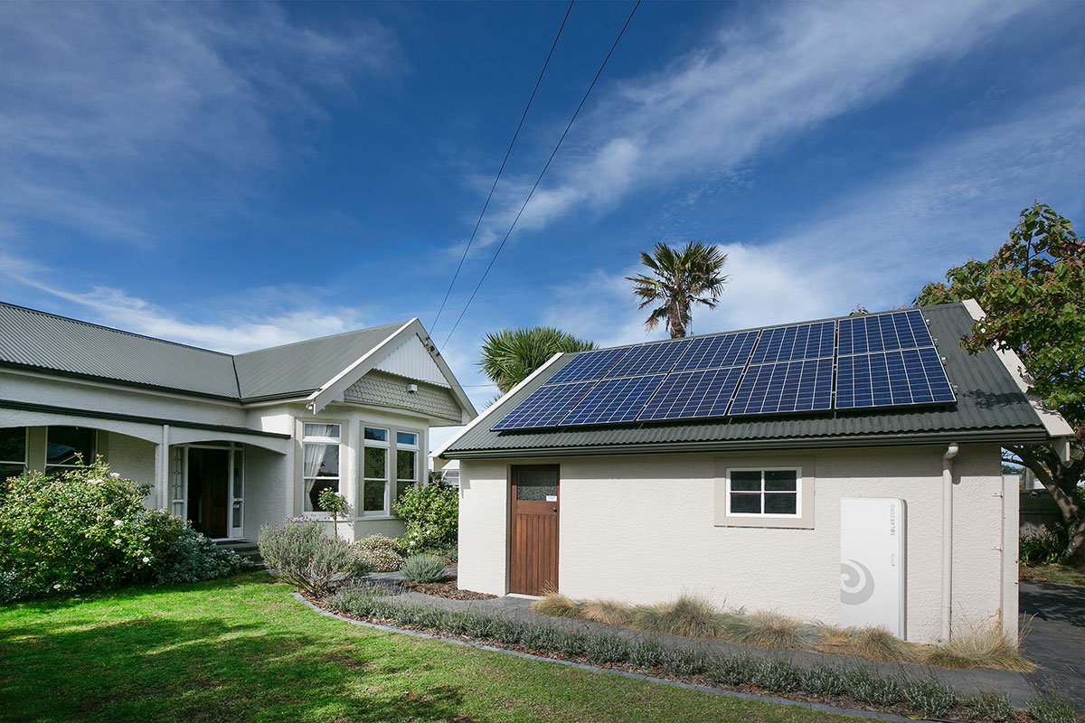 solarZero home with solar panels and battery