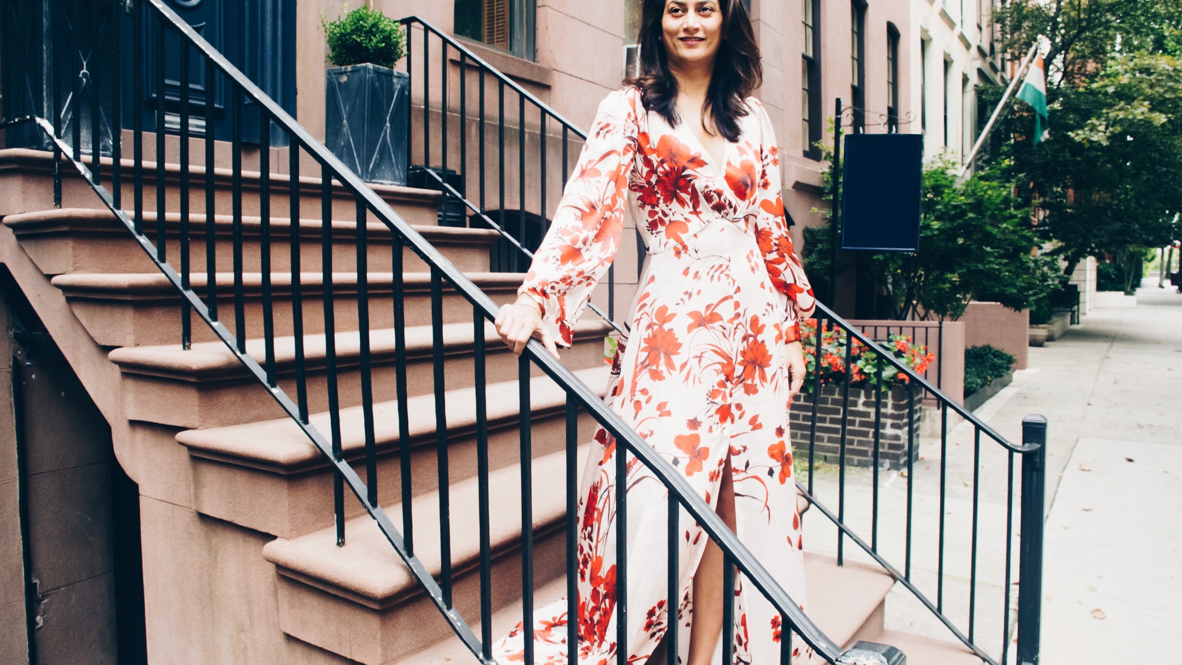 Lady standing on stairs