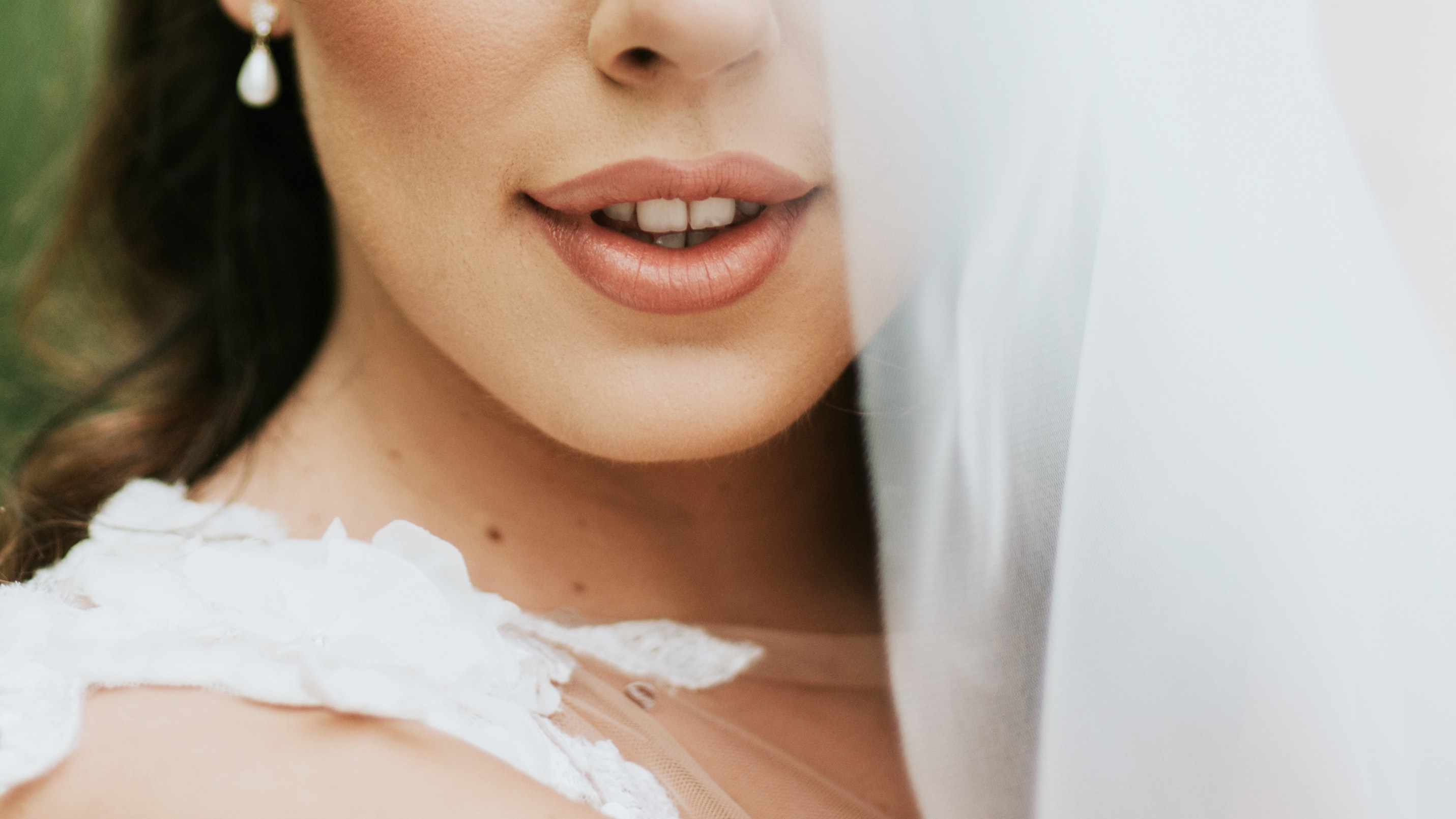 Close up of bride's lips