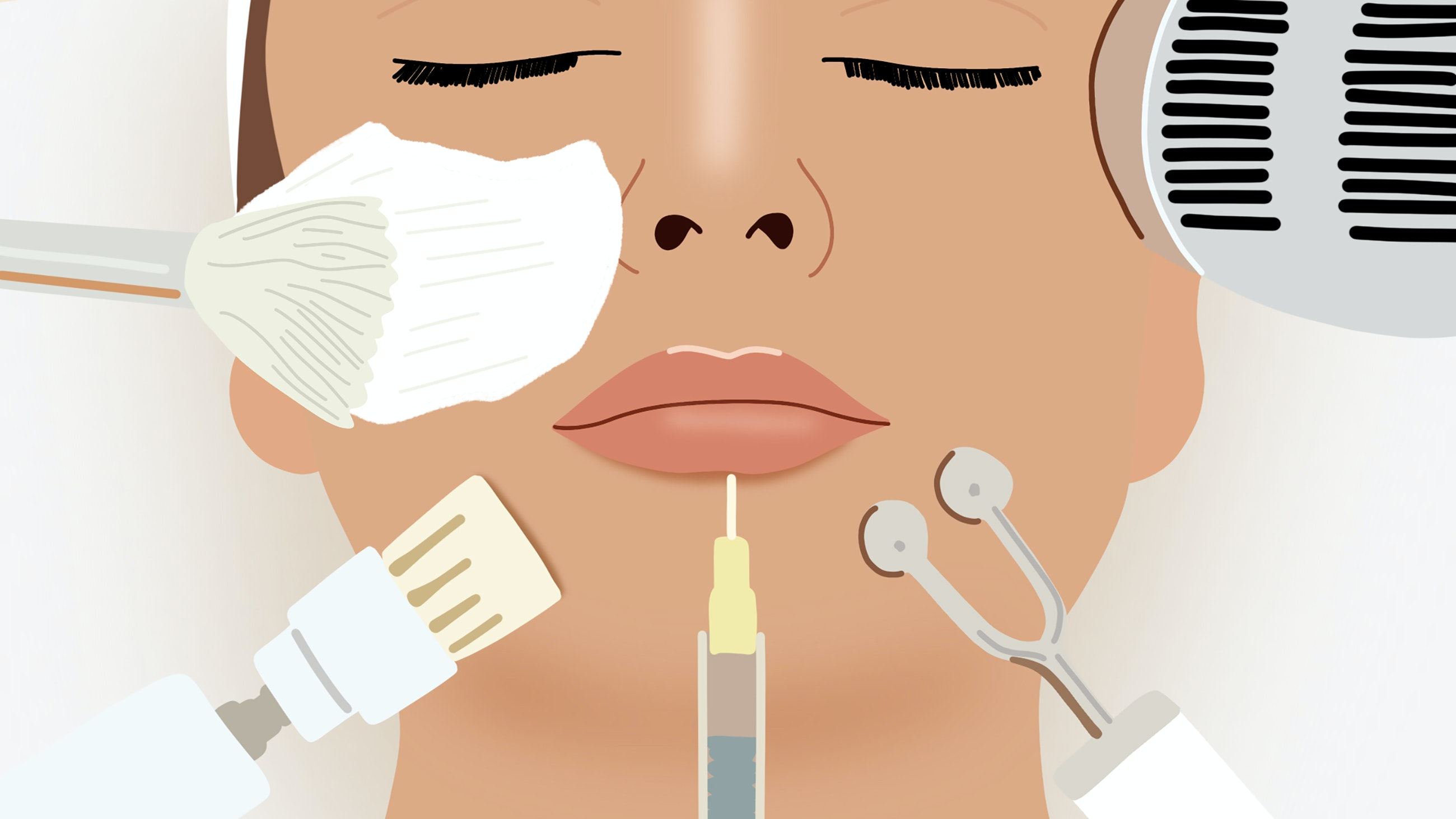 Illustration of women getting aesthetic treatments