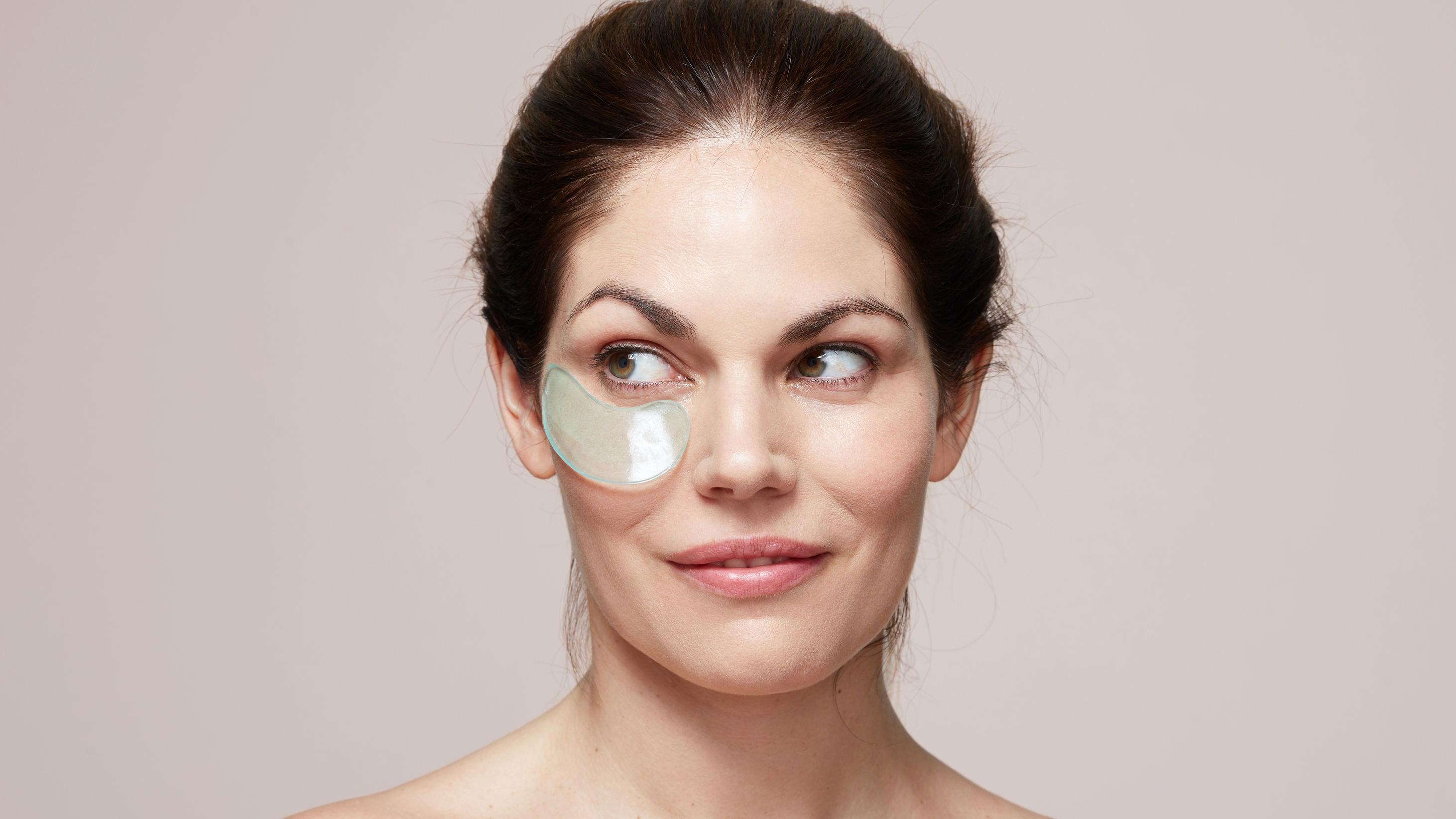 Woman wearing undereye patch