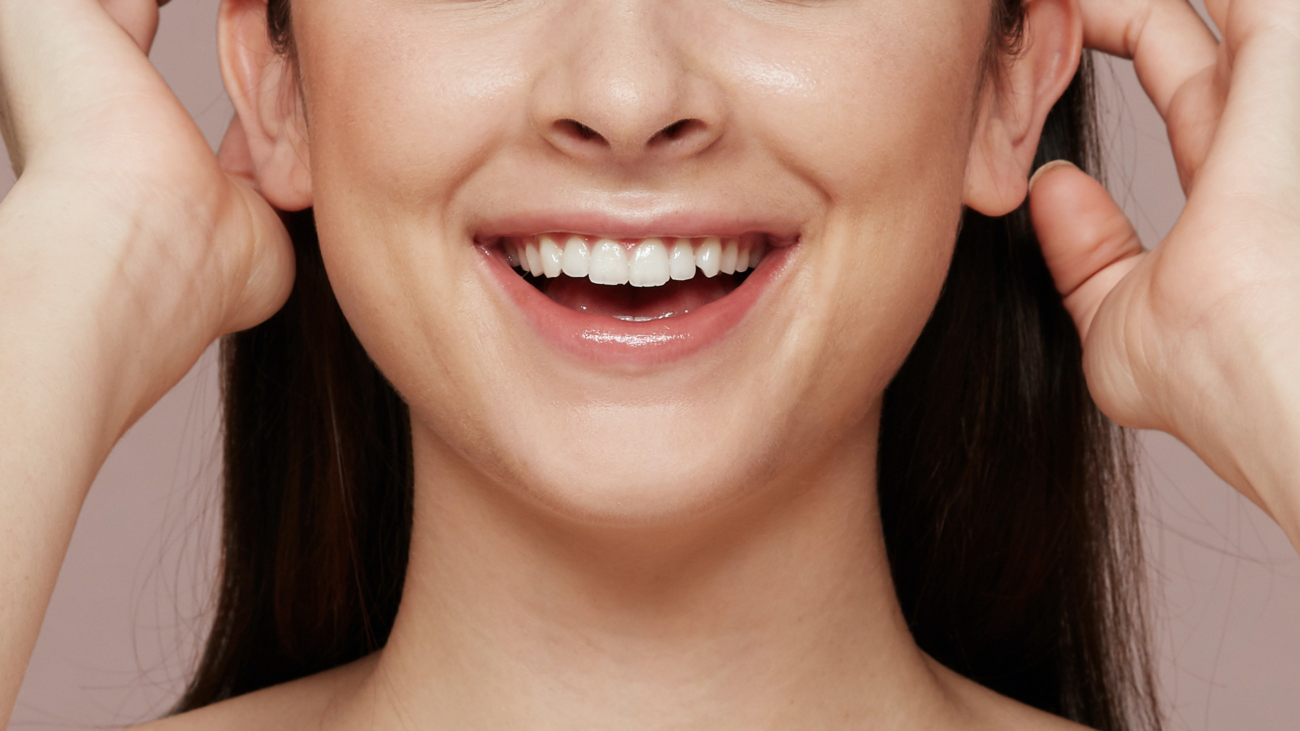 lower half of smiling woman's face