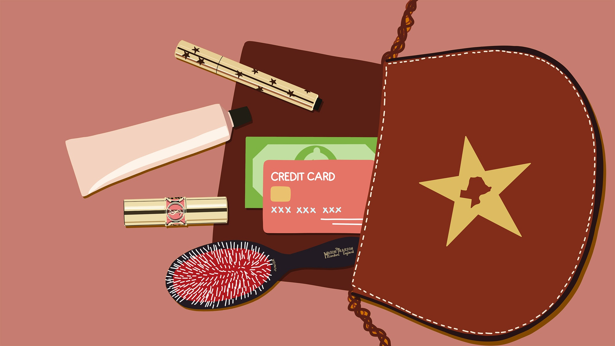 illustration of purse contents and credit cards falling out of purse