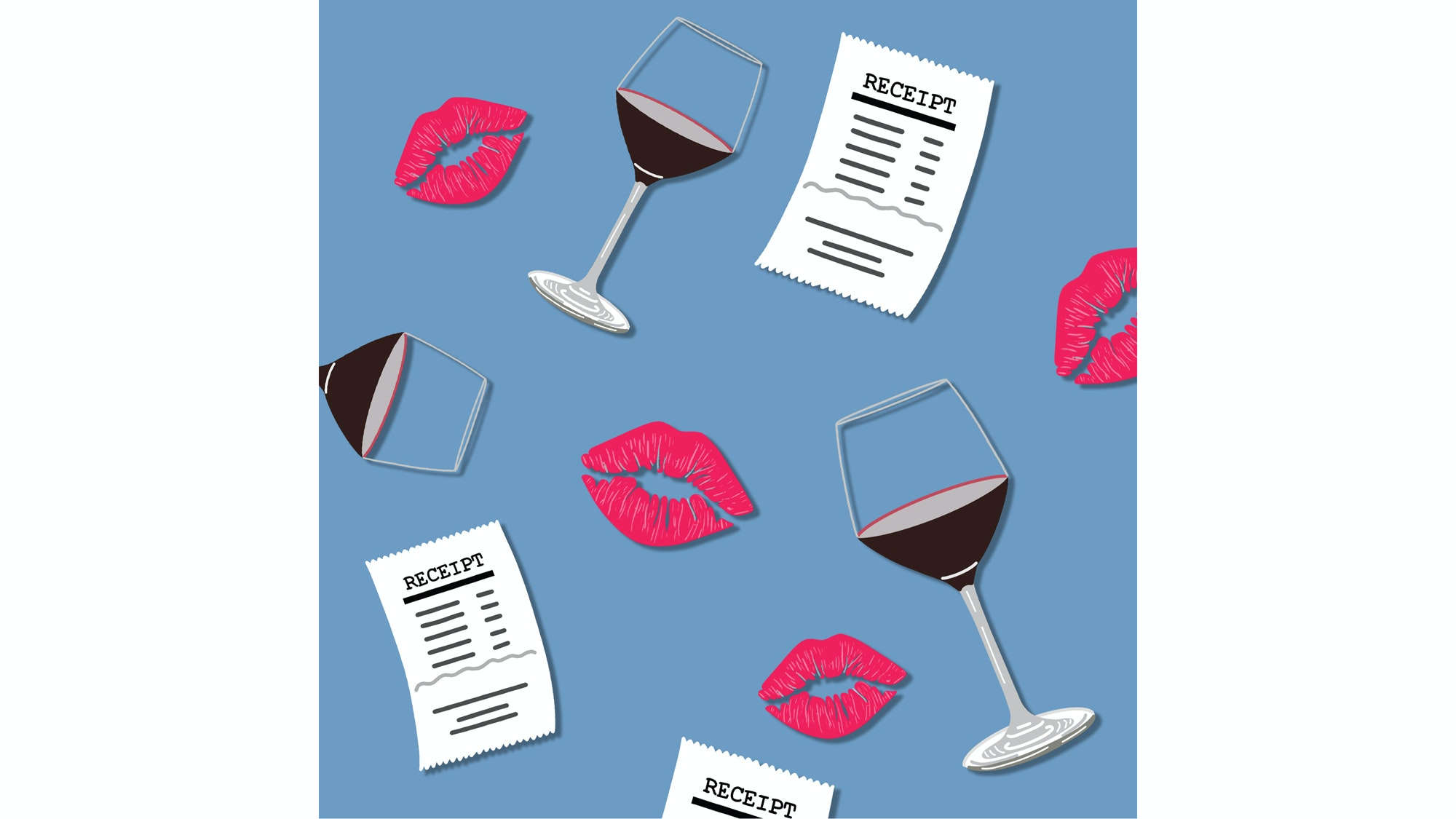 illustration of wine glasses, lips, and receipts