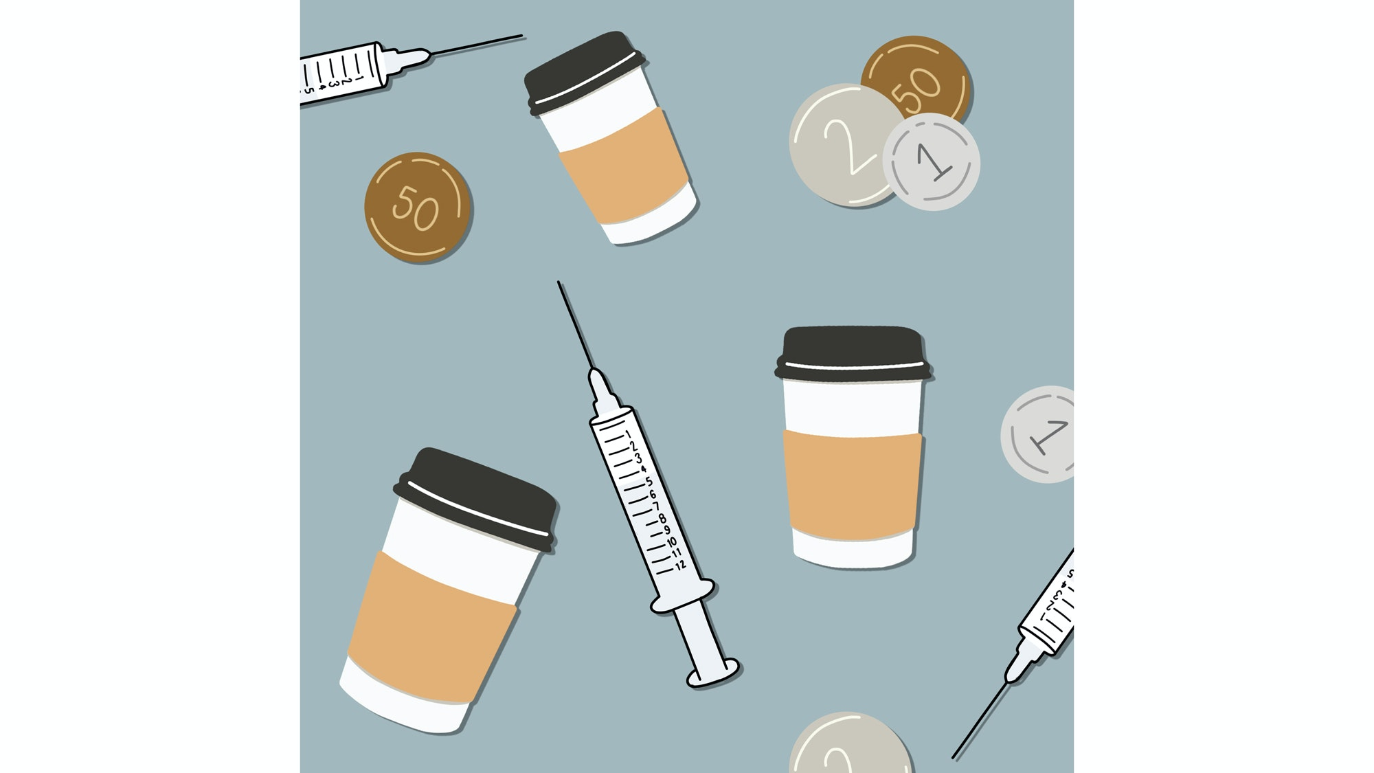 illustration of change coffee cups and syringes