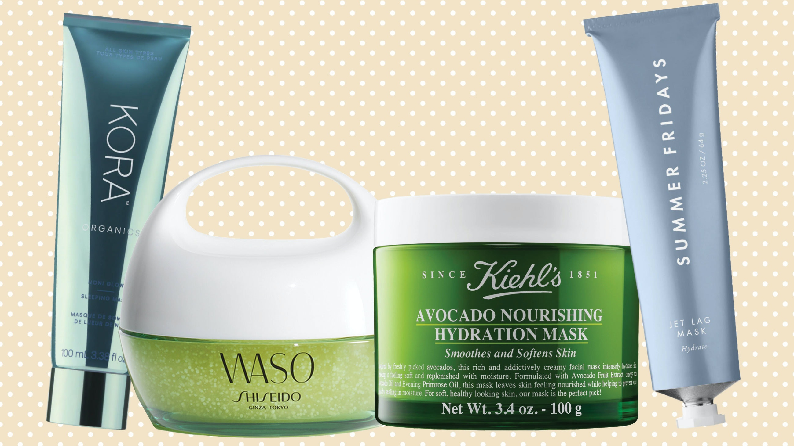 array of hydrating face masks