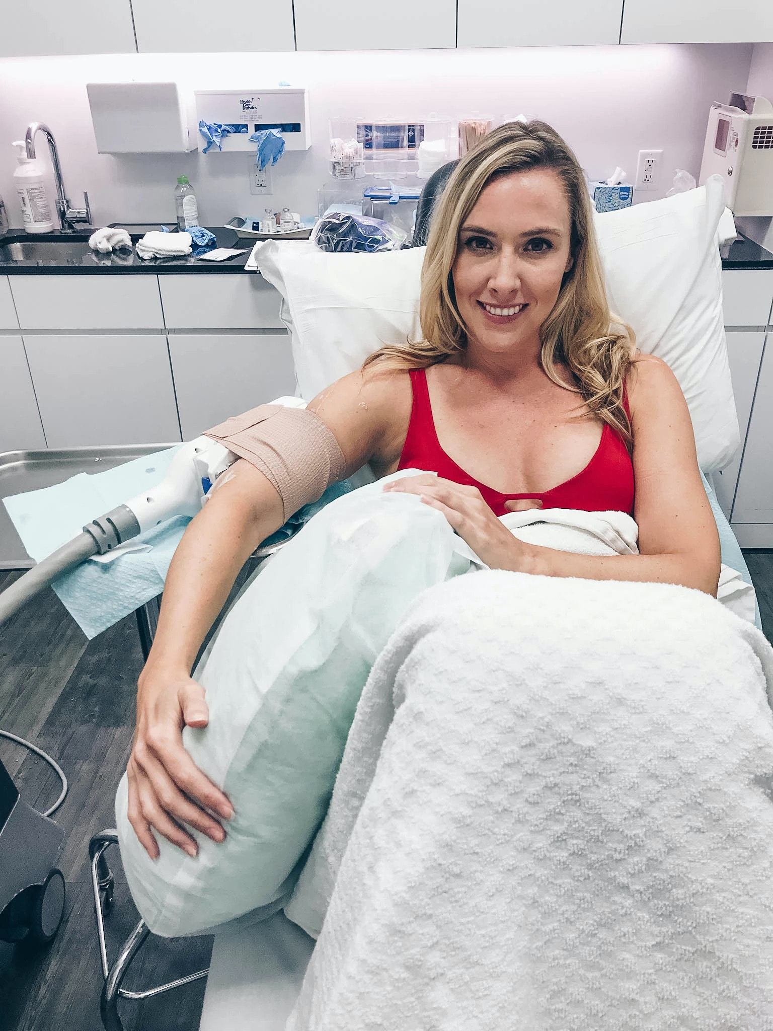 Cristina Gibson during her first CoolSculpting treatment.