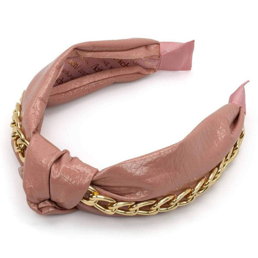 Justine Marjan™ x KITSCH® Patent Knotted Headband with Chain in Blush