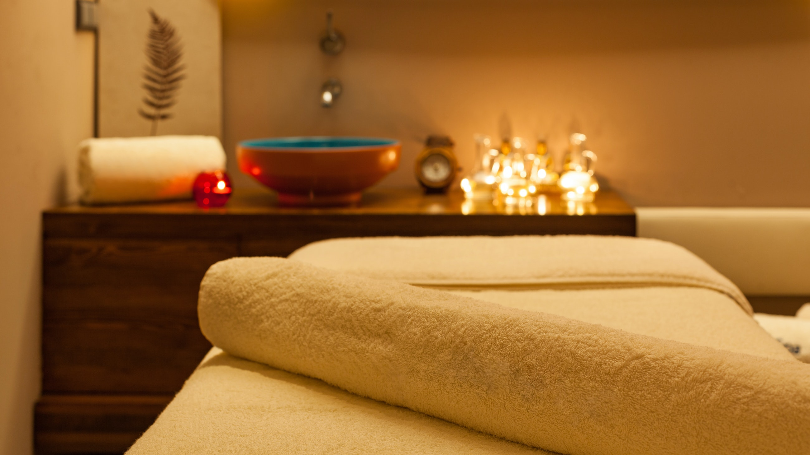 Winter spa treatment with towels