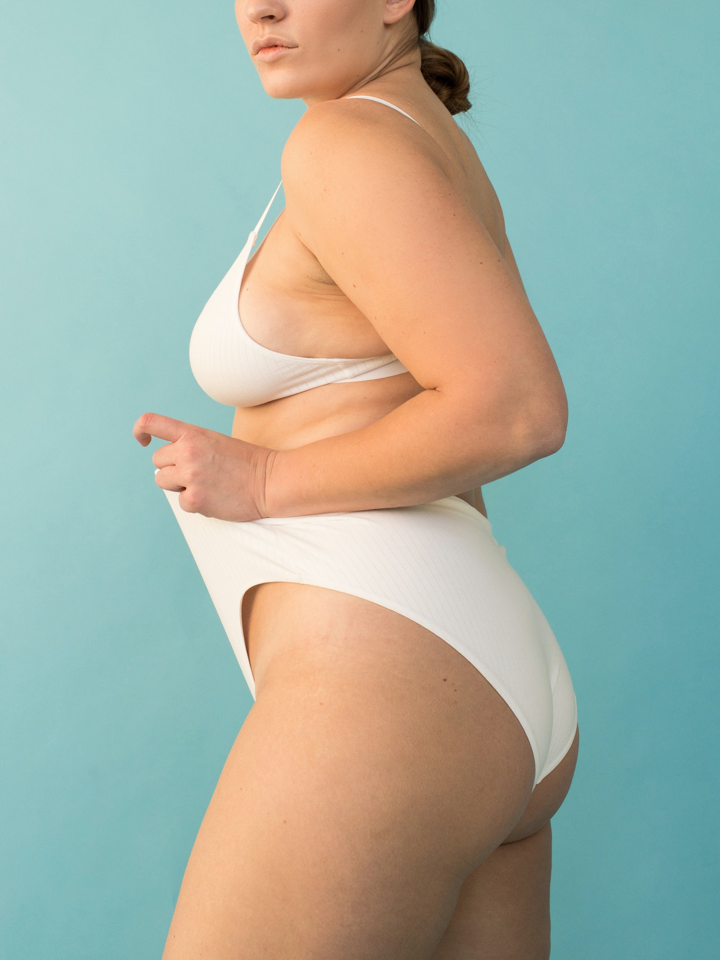 Woman wearing white underwear