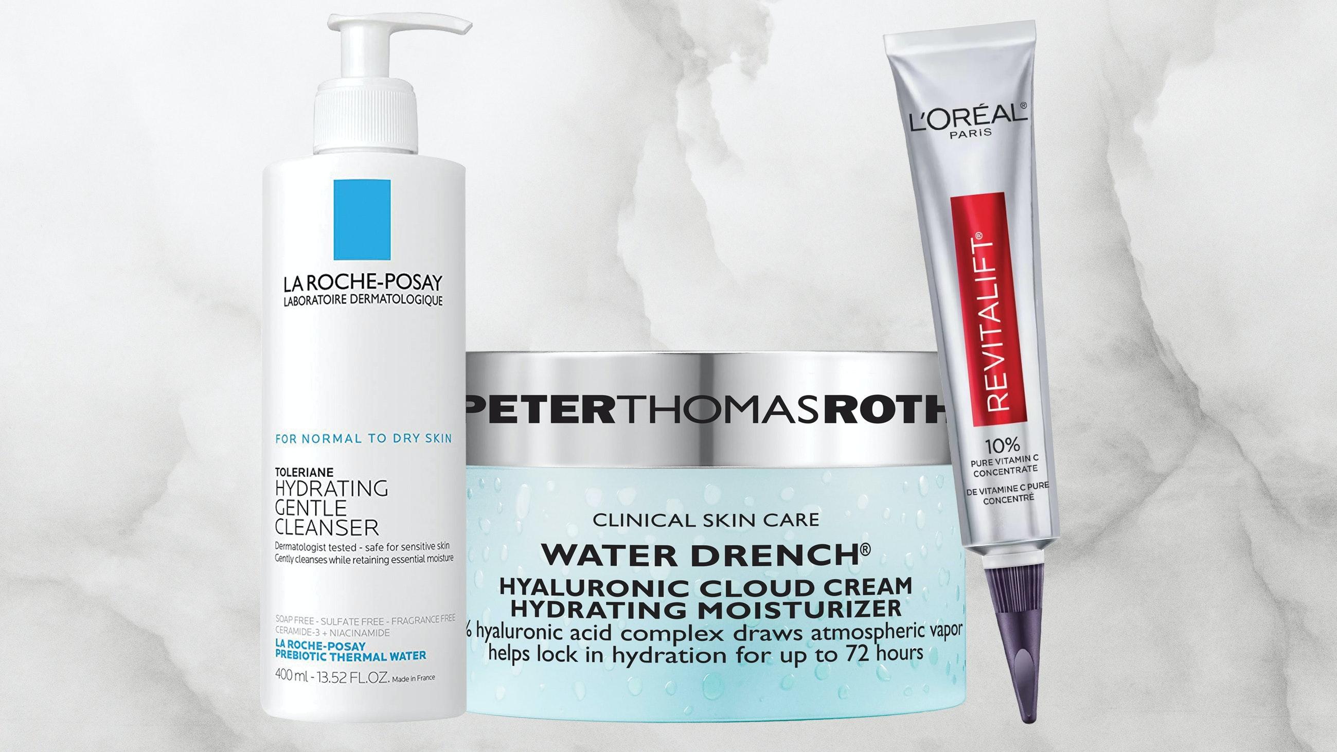 Assortment of moisturizing skincare items