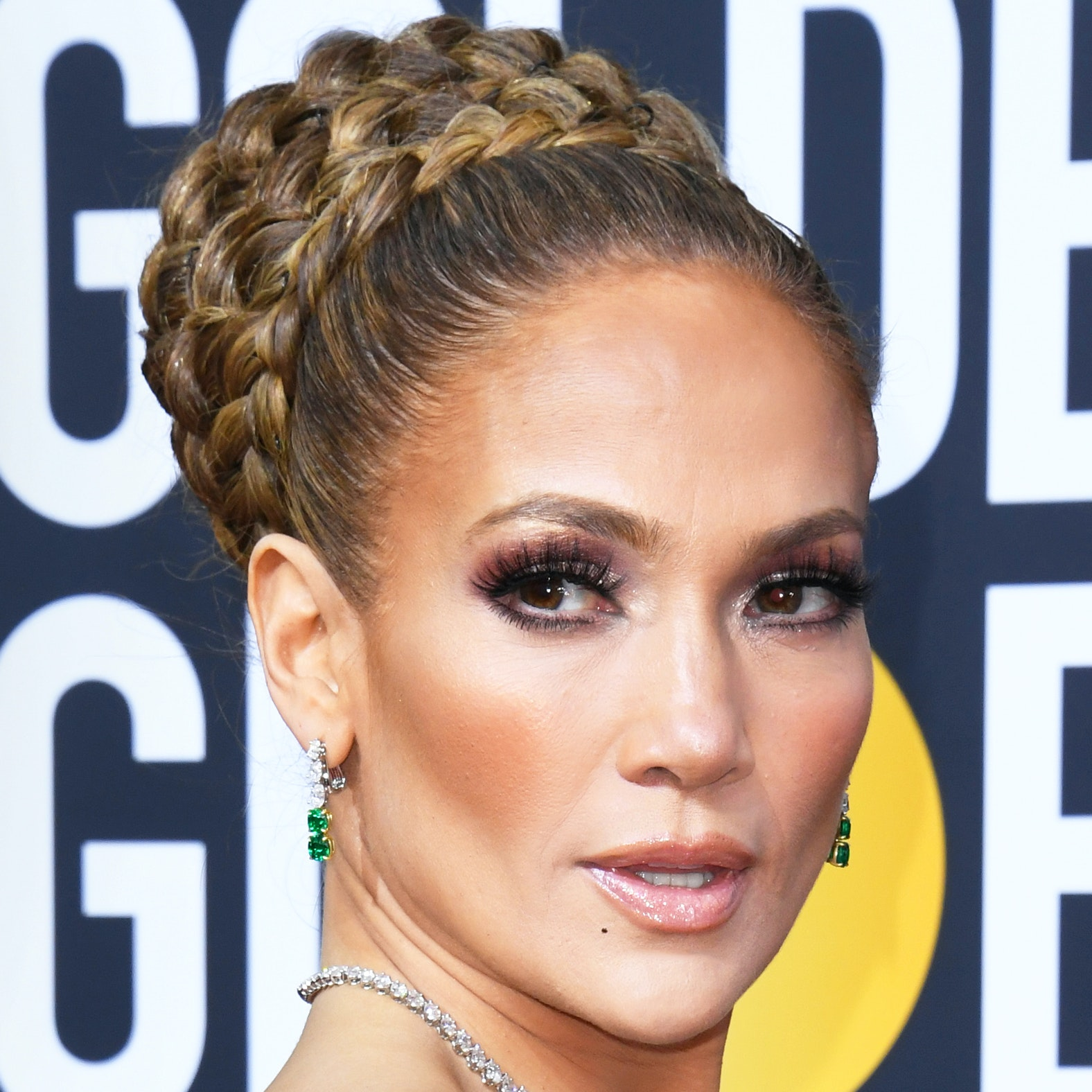 See Every Angle of Jennifer Lopez's Regal Braided Updo at the Golden Globes