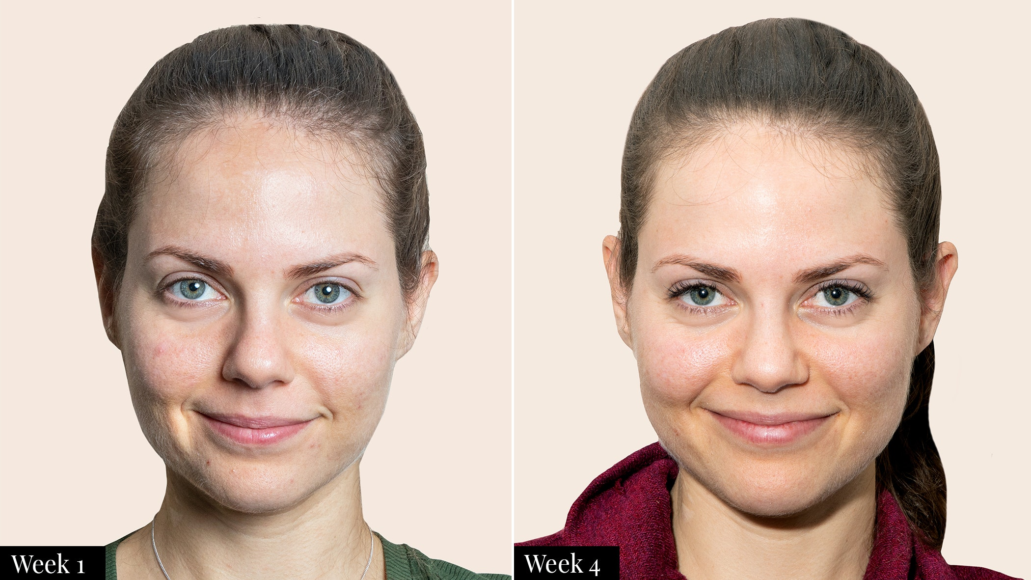 woman no makeup challenge for 30 days before and after