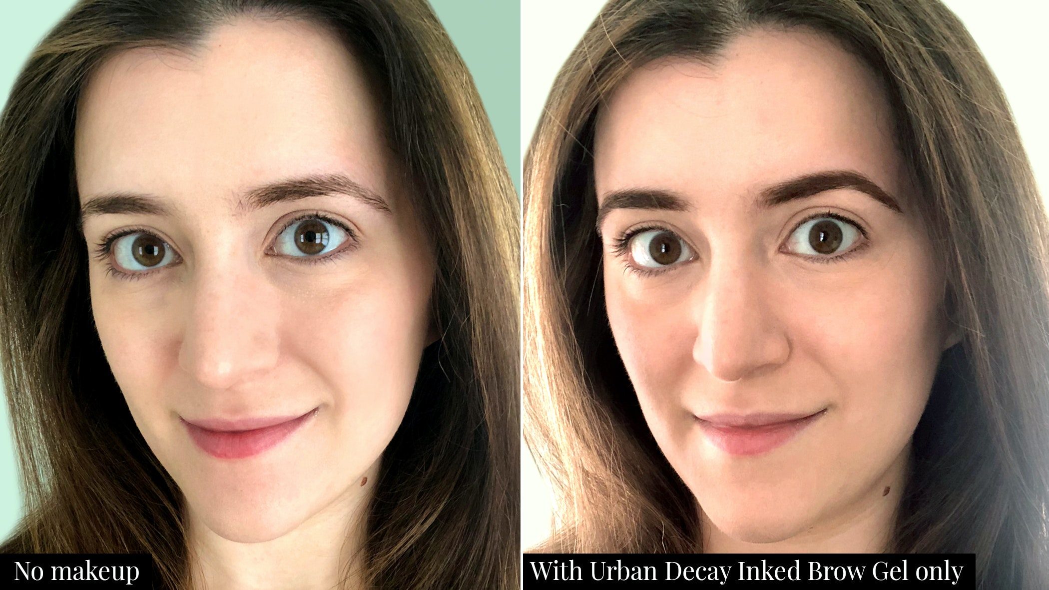 Urban Decay Inked Brow Gel before and after