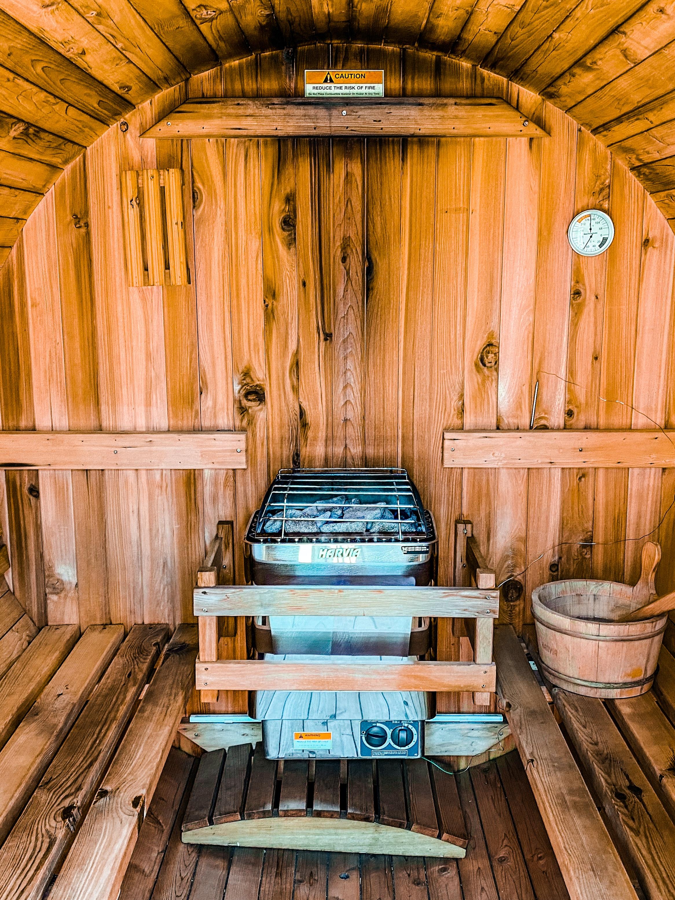 Inside the Barrel Sauna