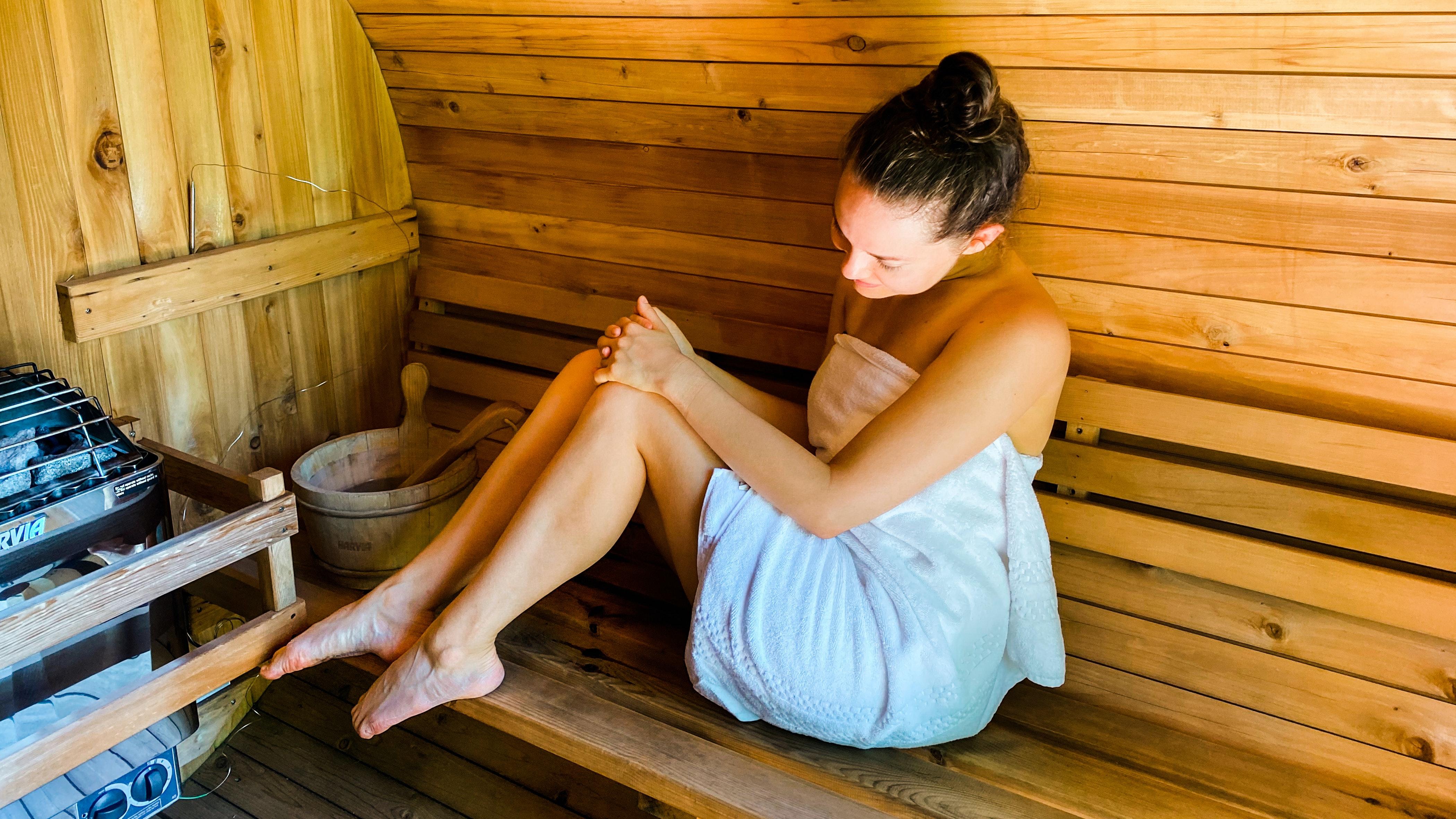 looking at skin inside the barrel sauna