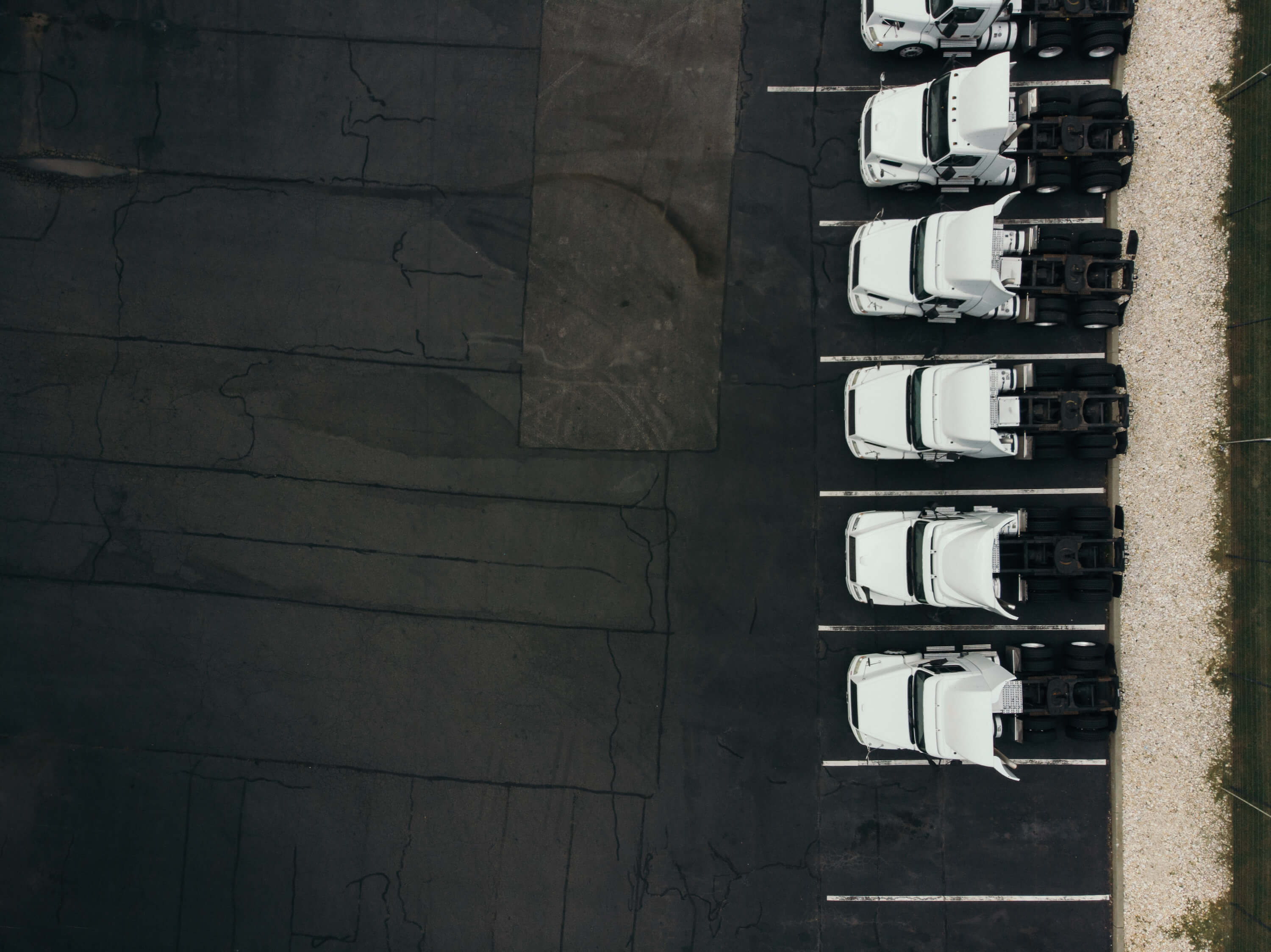 aerial view of heavy duty trucks