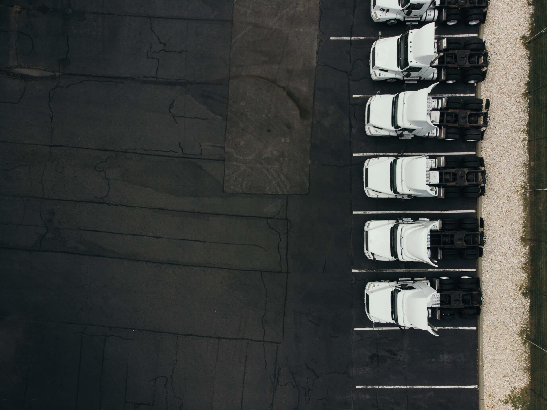 aerial view of heavy duty trucks