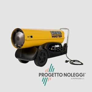 Master B 180 è un generatore d'aria calda a Gasolio ad alta pressione per ambienti medio/grandi, facile da trasportare grazie al carrello con ruote integrato e di semplice manutenzione