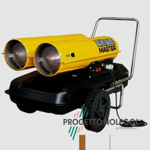 Master B 300 è un generatore d'aria calda a Gasolio ad alta pressione per ambienti medio/grandi, facile da trasportare grazie al carrello con ruote integrato e di semplice manutenzione