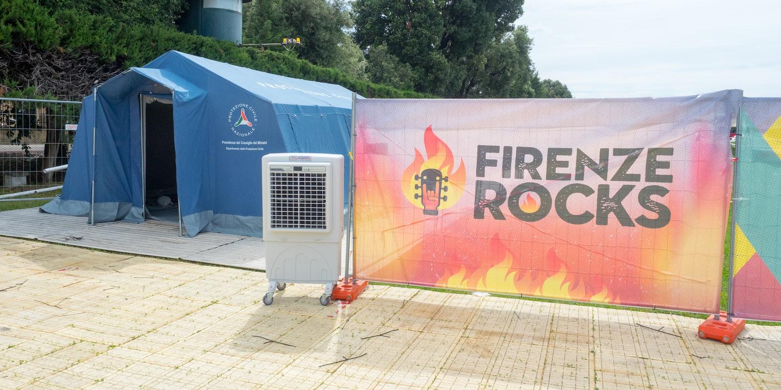 Raffrescamento di tende da campo di associazioni di volontariato presso il Firenze Rocks