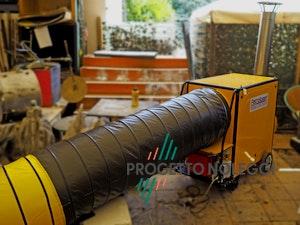 Il Generatori d'aria calda a Gasolio Master BV 310 FS con bruciatore Riello separato. Il Generatore è canalizzabile per creare cicli chiusi di riscaldamento nella vostra struttura, migliorando notevolmente il rendimento del generatore ed i consumi di gasolio.