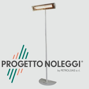 Progetto Noleggi aiuta nell'installazione di riscaldatori a infrarossi con le sue piantane a base piatta non regolabili di colore bianco.