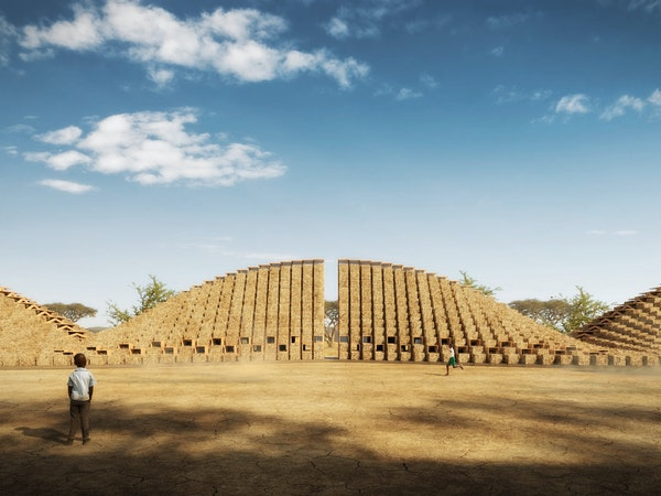 A concept graphic of a boy standing in front of the Straw Bale School, a modular school built using straw bales