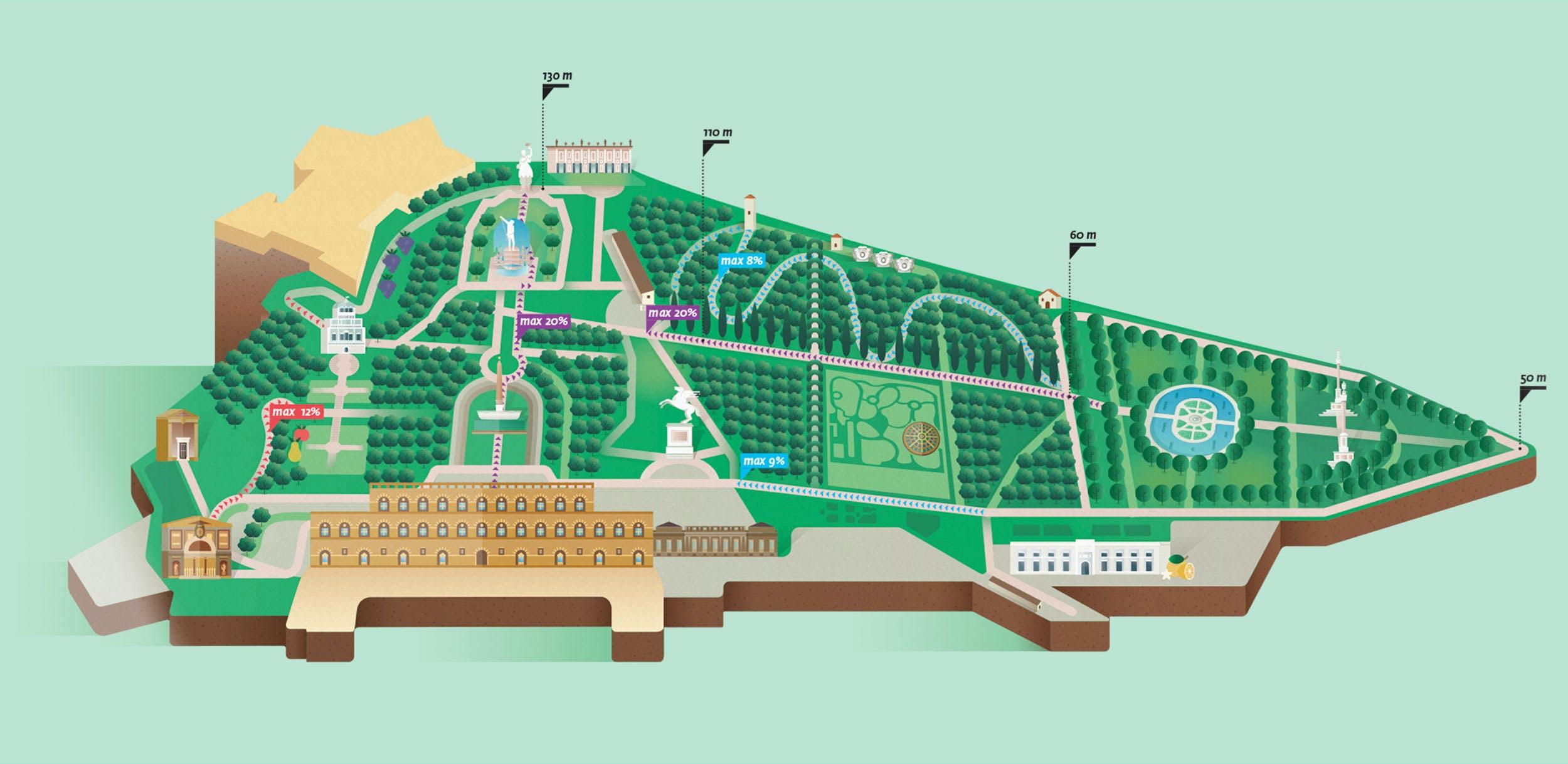 La mappa dei giardini di Boboli in formato poster