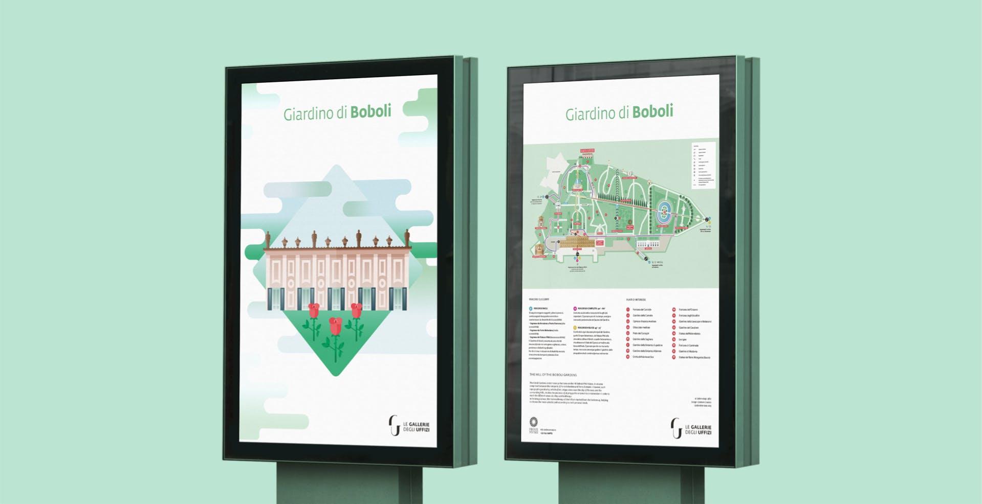 Mockup di due tabelloni con la mappa dei giardini di Boboli