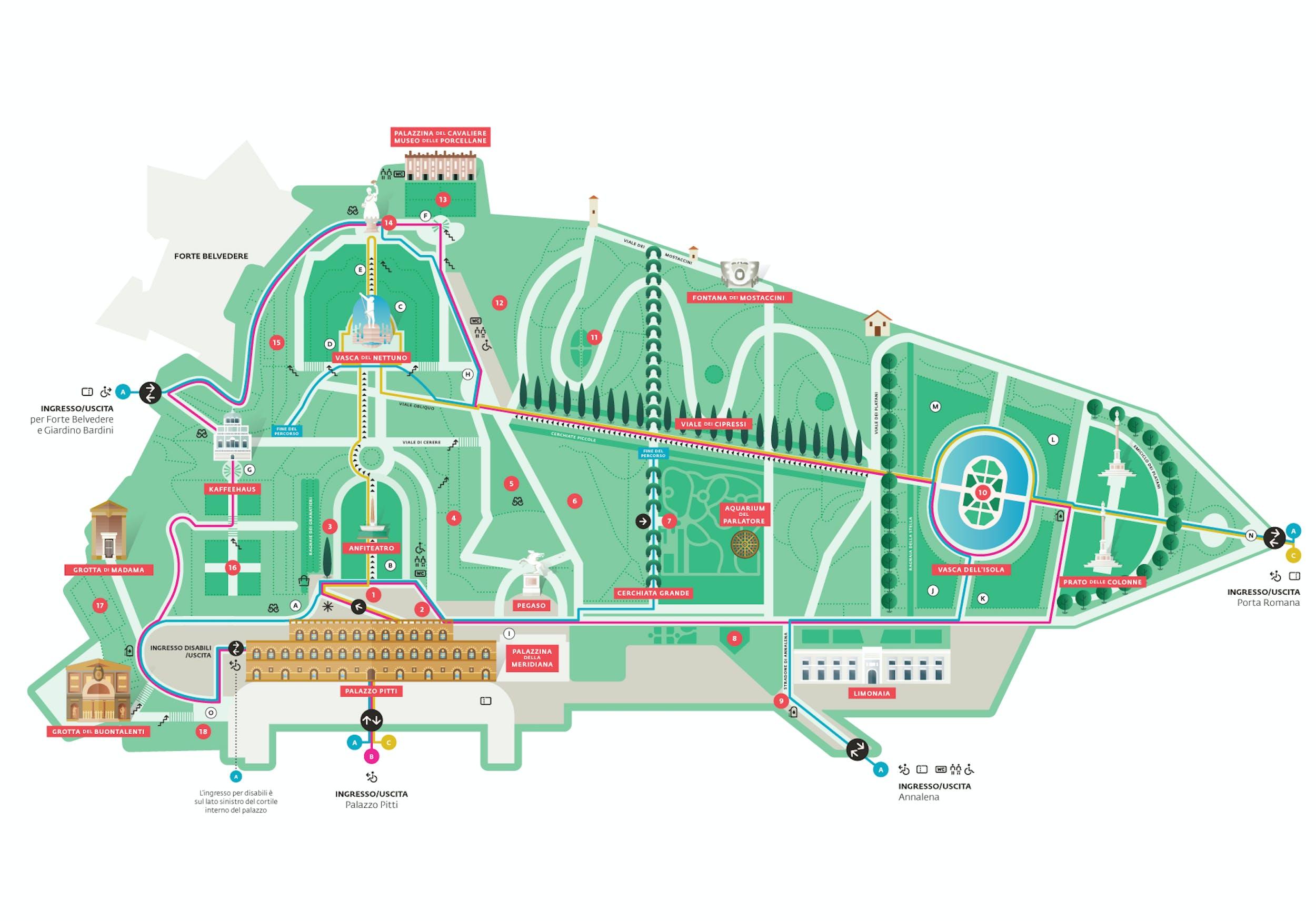 Mappa dei Giardini di Boboli in versione flat