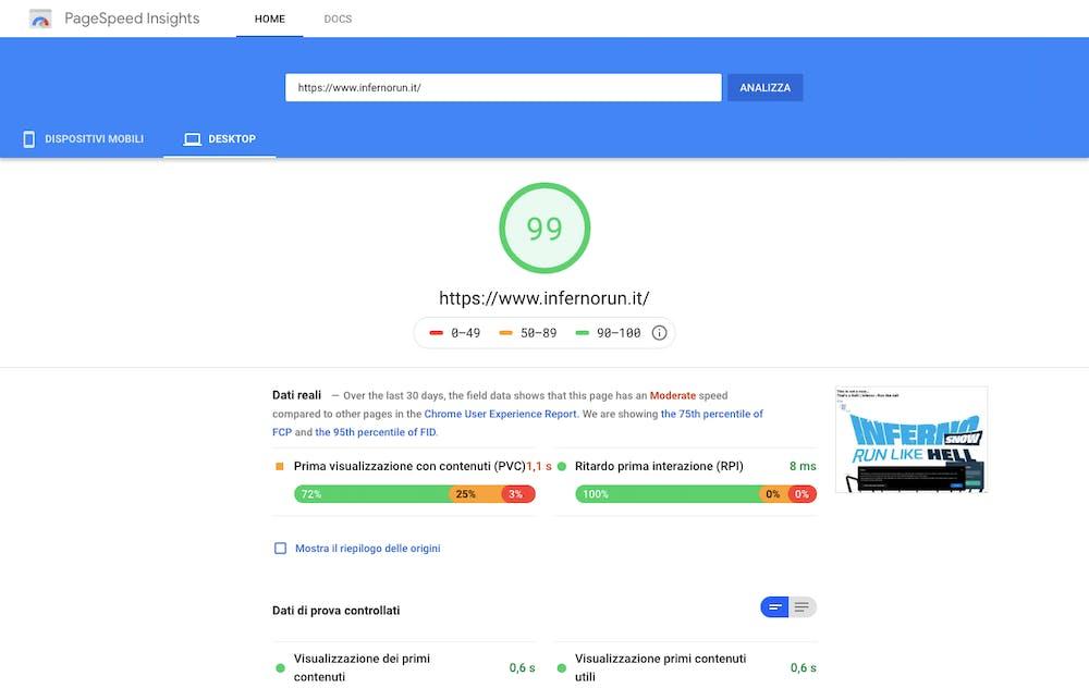 Il Page Speed test fatto su un sito gestito con DatoCMS mostra le performance del sito desktop