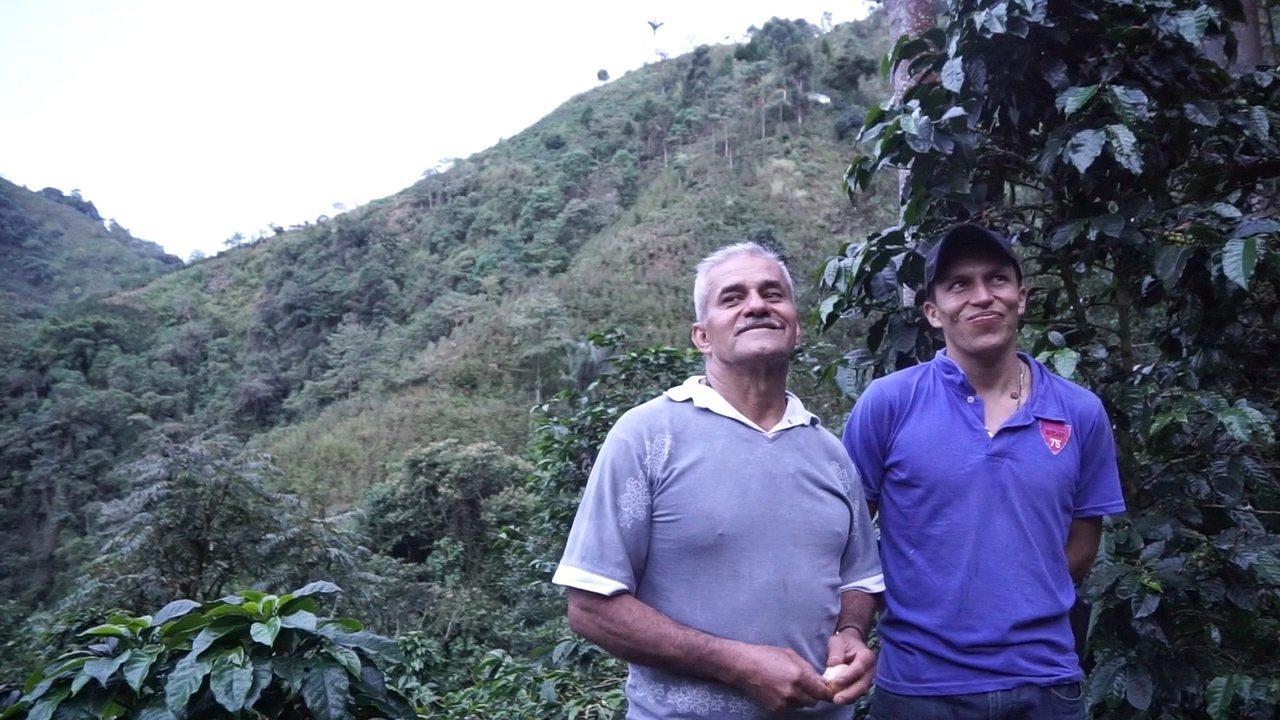 José Ignacio Pardo Torres and his son Juan Gabriél who helps out at the farm.