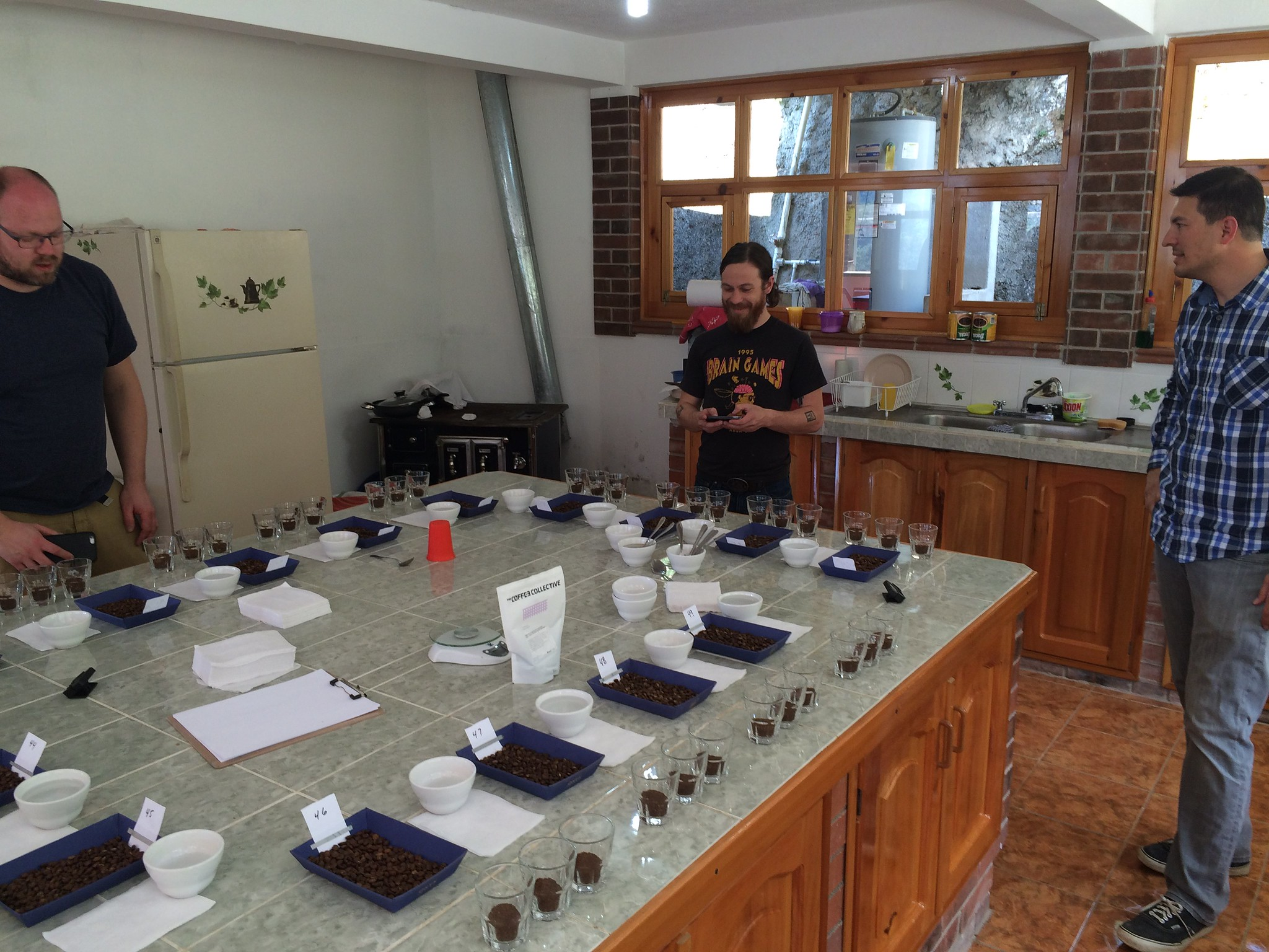 Martin, Lucky and Edwin preparing for the cupping.