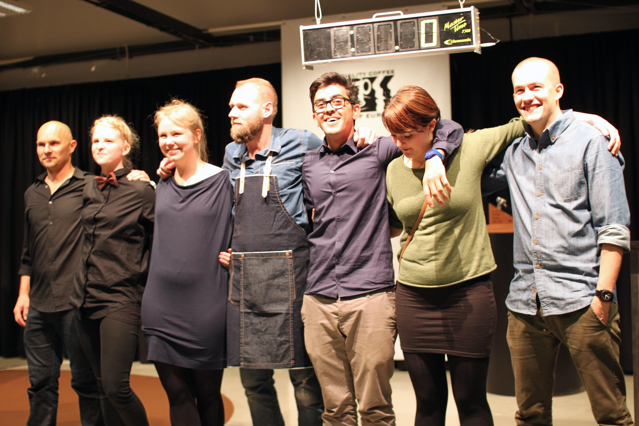 All seven competitors. From left to right: Allan Juhl, Maria Hagstrup, Sarah Lindqvist, Søren Stiller, Omar Maagaard Houssein, Katrine Deleuran Petersen and Rasmus Gamrath.