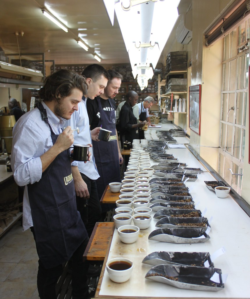 Day 1. Cupping at Dorman's in Nairobi. This was a superb way to get an overview of this years crop in Kenya. Everything from the low grade Mbunis (dry processed unripe cherries) to the Top AA lots. We cupped probably between 100 - 150 different lots that day. Behind Casper is Tim Wendelboe and Morten from Solberg&Hansen in Norway.