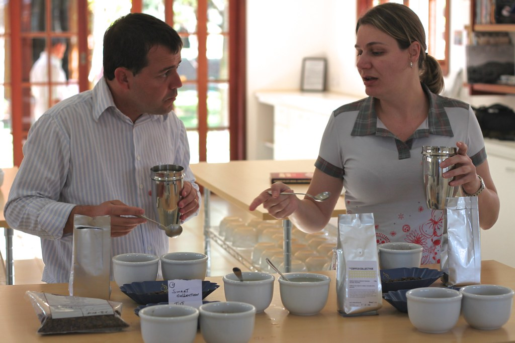 Cupping some TCC coffees.